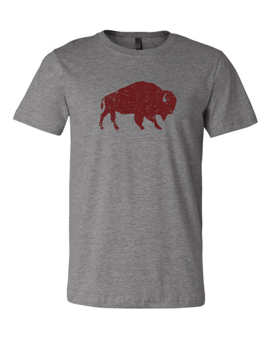 Distressed Bison Buffalo T-shirt - Grey Triblend Canvas 3001c