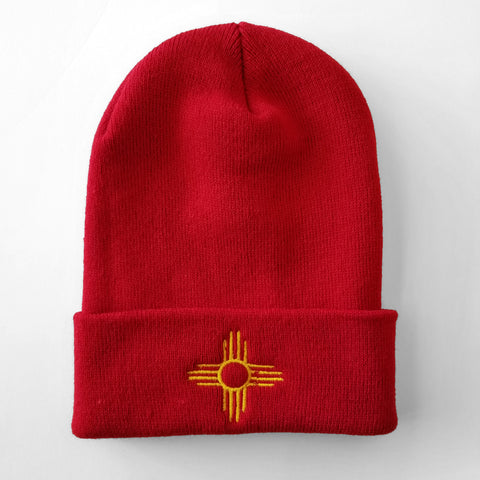 Distressed Zia - Gold on Red Embroidered Beanie