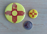 Distressed Zia (Red on Yellow Base) - Pinback Button