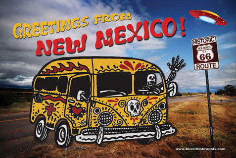 NM Dead Bus! Greetings From New Mexico Postcard