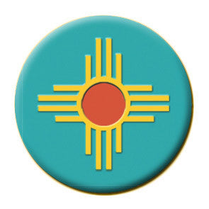 Round Turquoise Zia Magnet