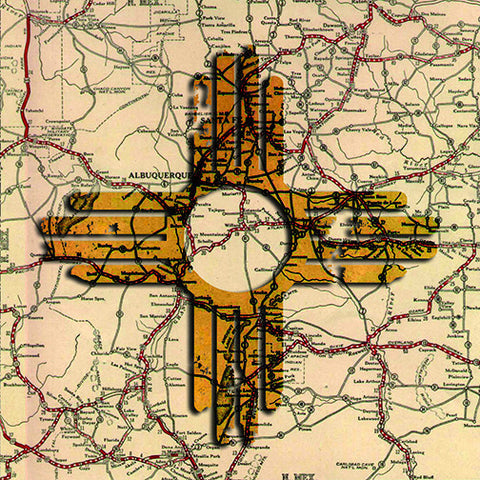 Zia Map of New Mexico Square Postcard