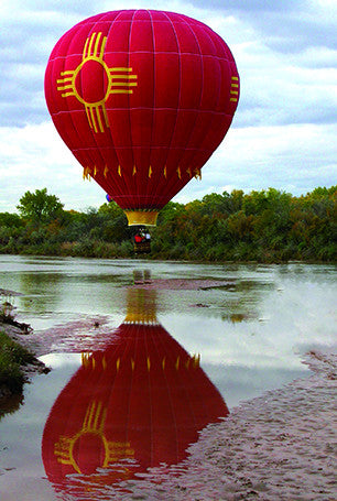 Zia Hot Air Balloon on River Postcard