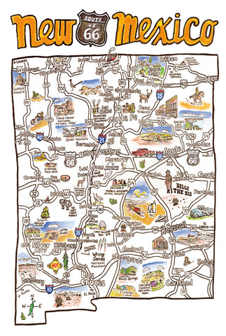 New Mexico Map Postcard