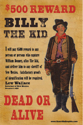 Billy The Kid Reward Postcard