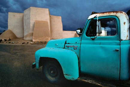 Blue Truck at Ranchos Church Postcard