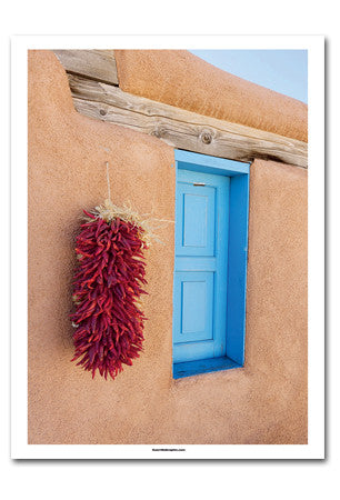 Taos Chile and Blue Door Art Print
