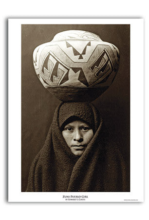 Zuni Pueblo Girl Art Print by Edward Curtis