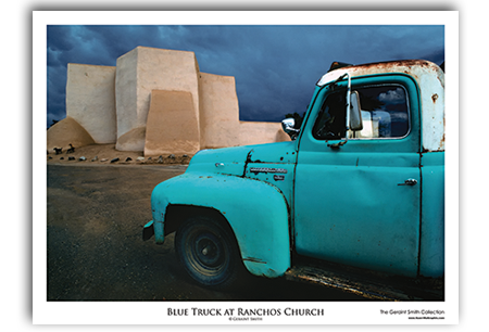 Blue Truck at Ranchos Church Art Print by Geraint Smith