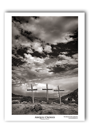 Abiquiu Crosses Art Print Black White New Mexico Landscape Poster
