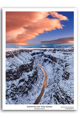 Snowfall on Taos Gorge Art Print by Geraint Smith