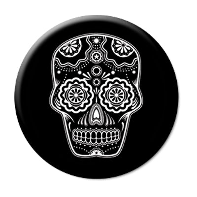 "Day of the Dead Sugar Skull - 2.25"" Pin Back Button"