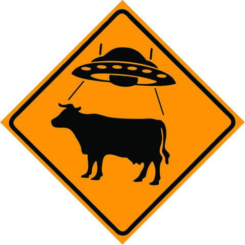 UFO Cattle Crossing Sign (square) Magnet