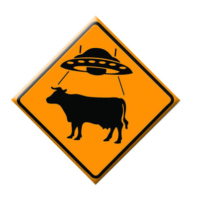 "UFO/Cow Crossing - 1.5"" Pinback Button"
