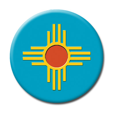 "Turquoise NM Zia - 1"" Pin Back Button"