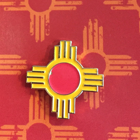 small zia lapel pin NM New Mexico Enamel