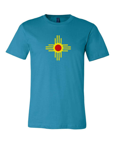 New Mexico Zia T-shirt - License Plate Turquoise NM Zia