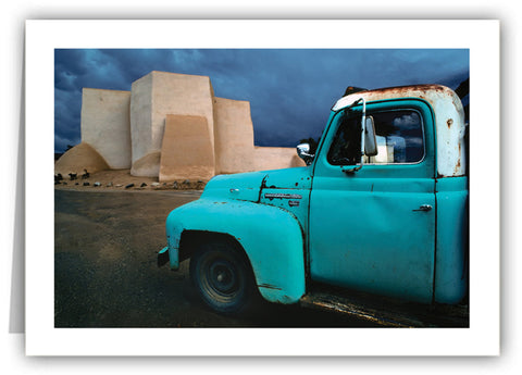 Blue Truck at Rancho Church Greeting Card