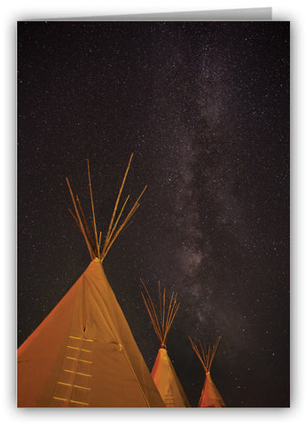Tipis Under Milky Way Greeting Card