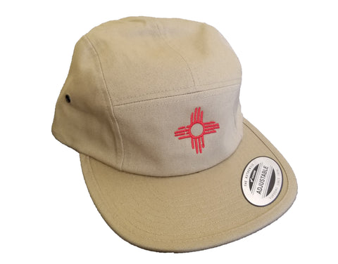 Jockey Flatbill - Embroidered Zia Hat - Khaki
