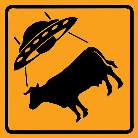 UFO Cattle Crossing Sticker