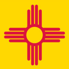 Zia Sticker - Red on Yellow New Mexico Symbol