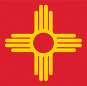Zia Sticker - Yellow on Red - New Mexico Symbol