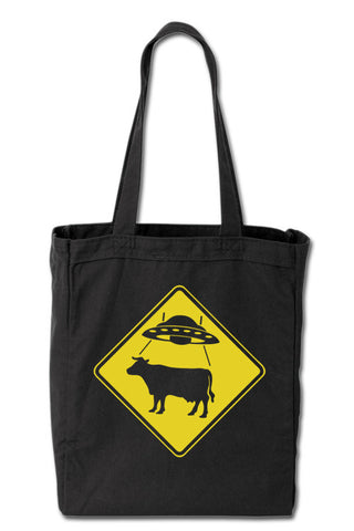 UFO Cow X-ing Sign Tote Bag