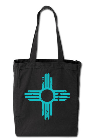 Distressed Zia - Turquoise Ink -  Black Tote Bag