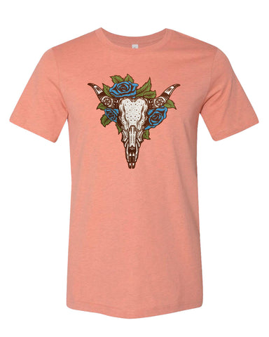 Cow Skull and Roses T-shirt - Guerrilla Graphix