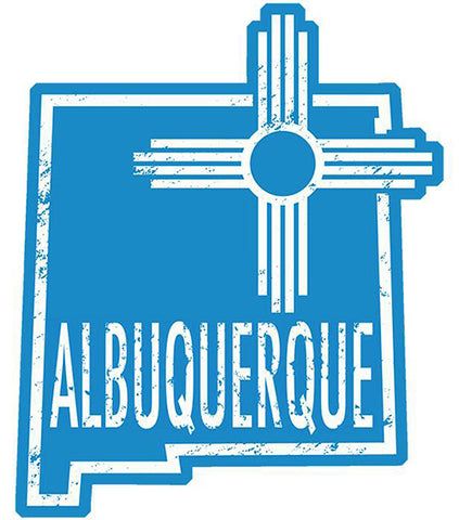 Albuquerque Outline _ New Mexico Zia Vinyl Bumper Sticker