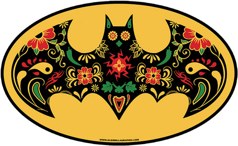 Sugar Skull Bat Vinyl Sticker | Guerrilla Graphix
