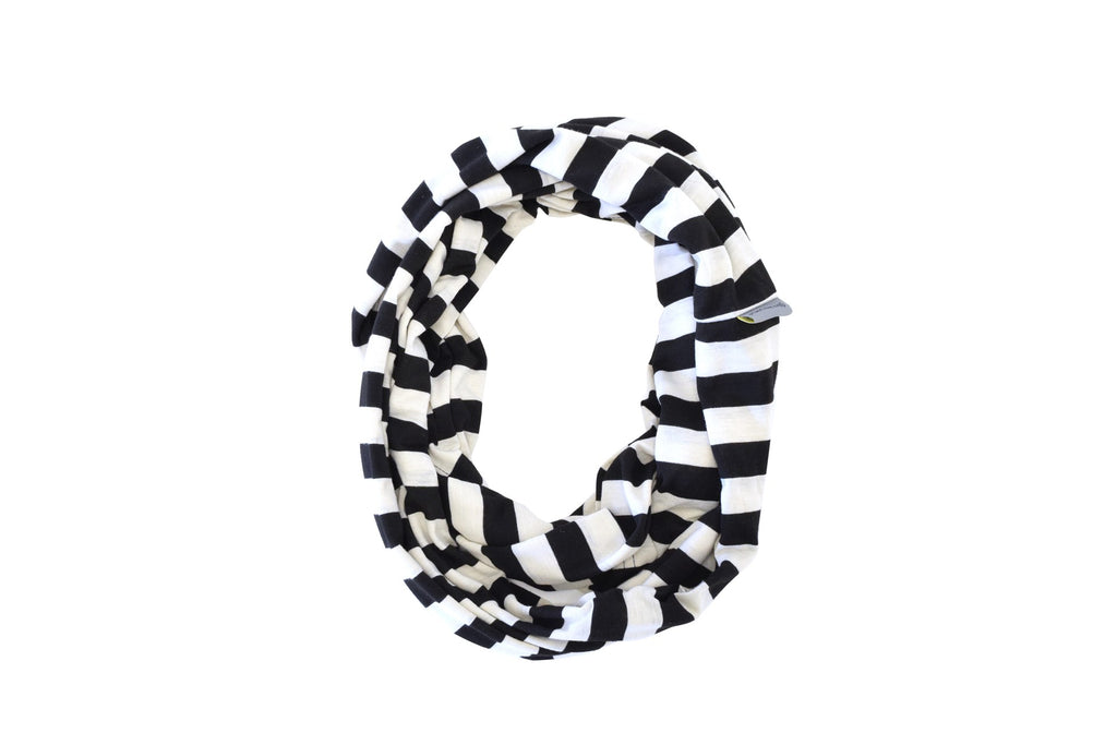 Itzy Ritzy Nursing Scarf- Black and White Stripe