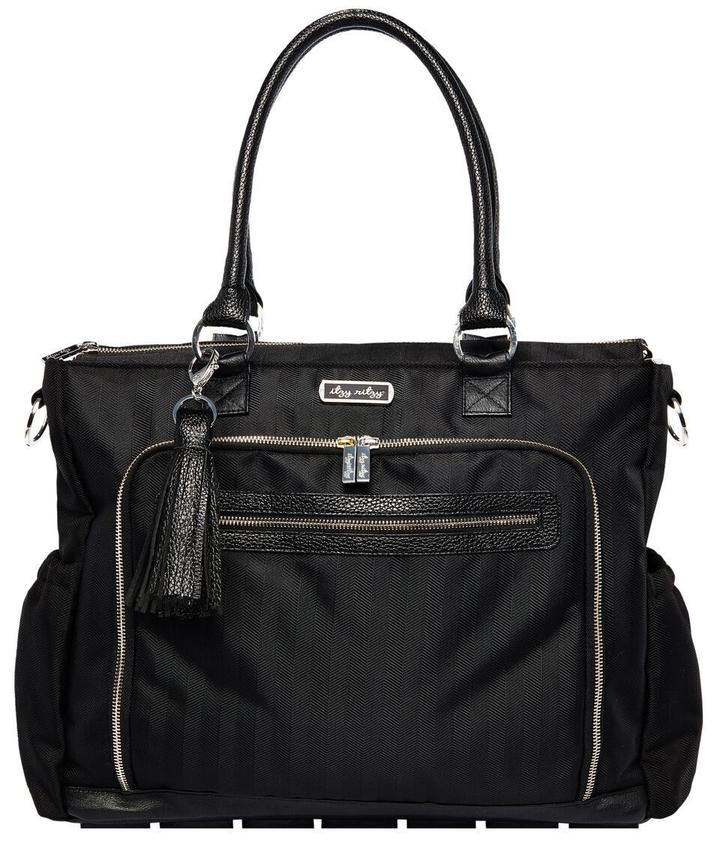 Itzy Ritzy Diaper Bag- Tribe Tote Black Herringbone