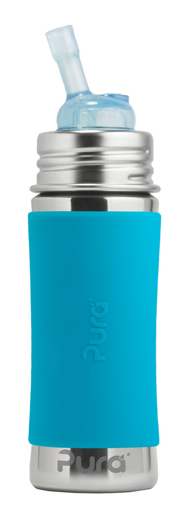 Pura Kiki- 11oz Toddler Stainless Steel Straw Bottle with Sleeve - Blue