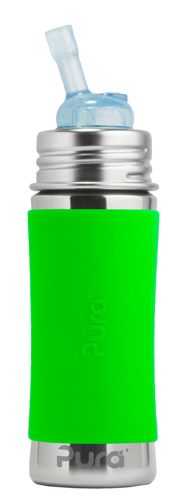 Pura Kiki- 11oz Toddler Stainless Steel Straw Bottle with Sleeve- Green