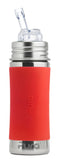 Pura Kiki- 11oz Toddler Stainless Steel Straw Bottle with Sleeve - Red