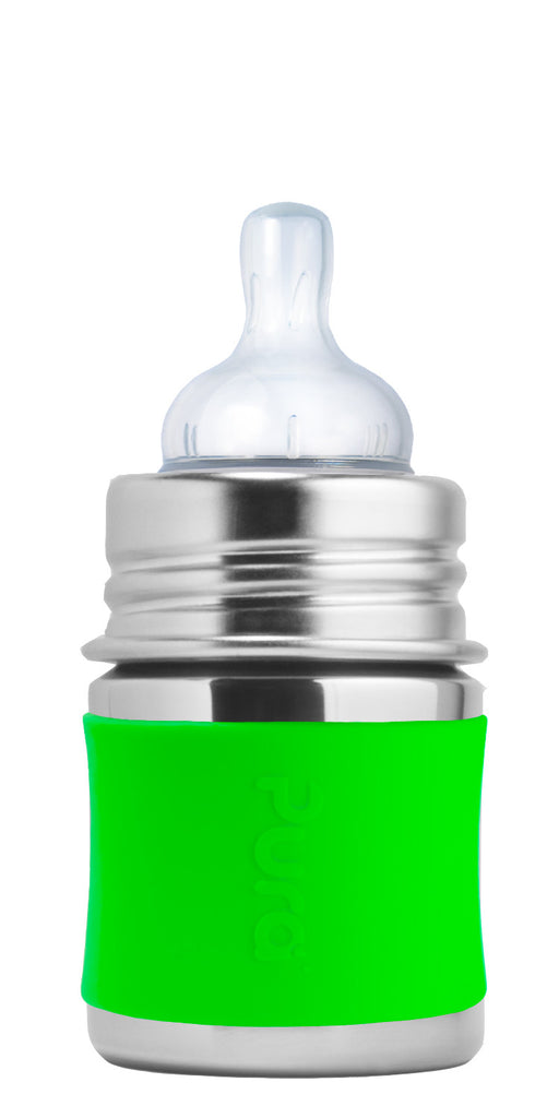 Pura Kiki- 5oz Stainless Steel Infant Bottle with Sleeve - Green