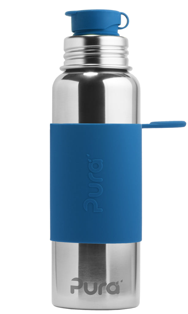 Pura Sport- 28oz Stainless Steel Bottle - Steel Blue