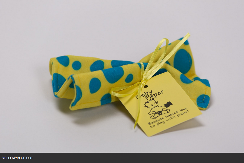 Yellow with Blue Polka Dots Baby Paper