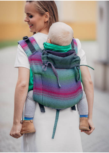 Lenny Lamb Buckle Onbu Baby Carrier- Little Herringbone Impression Dark