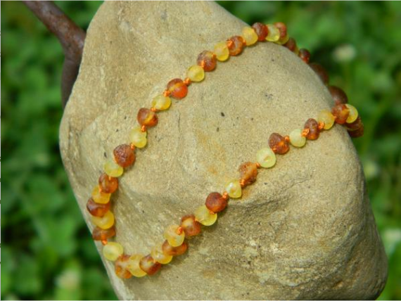Amber Baby Necklace- Raw Cognac & Lemon