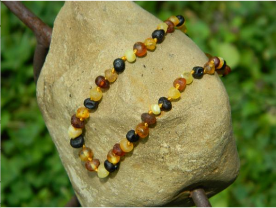 Amber Baby Necklace- Raw Multicolor