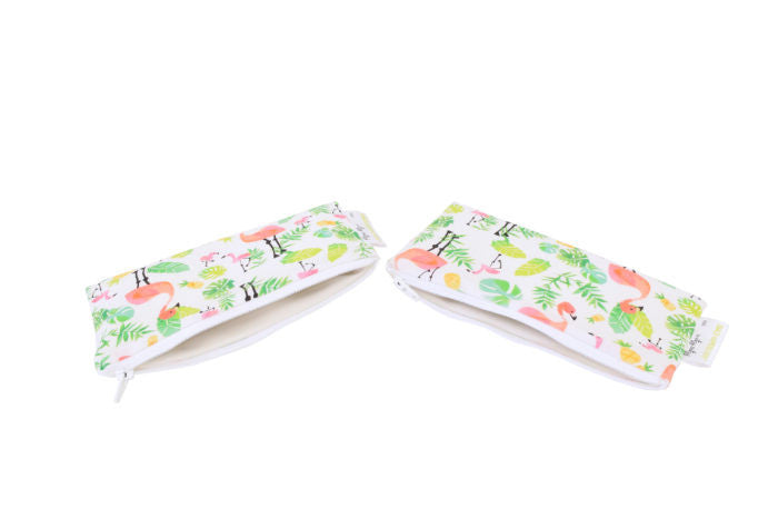 Itzy Ritzy Snack Happens Mini Reusable Snack and Everything Bag- Flamingo Flock