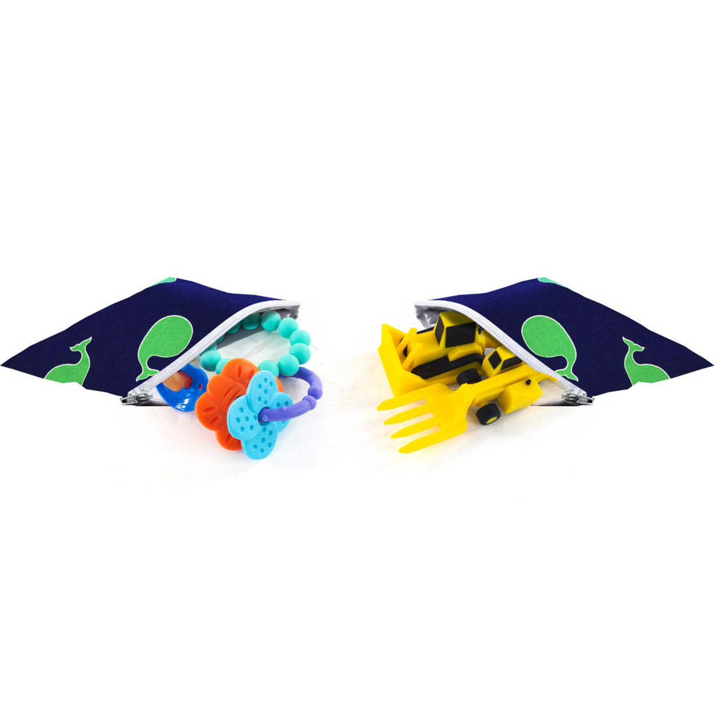Itzy Ritzy Snack Happens Mini Reusable Snack and Everything Bag- Whales