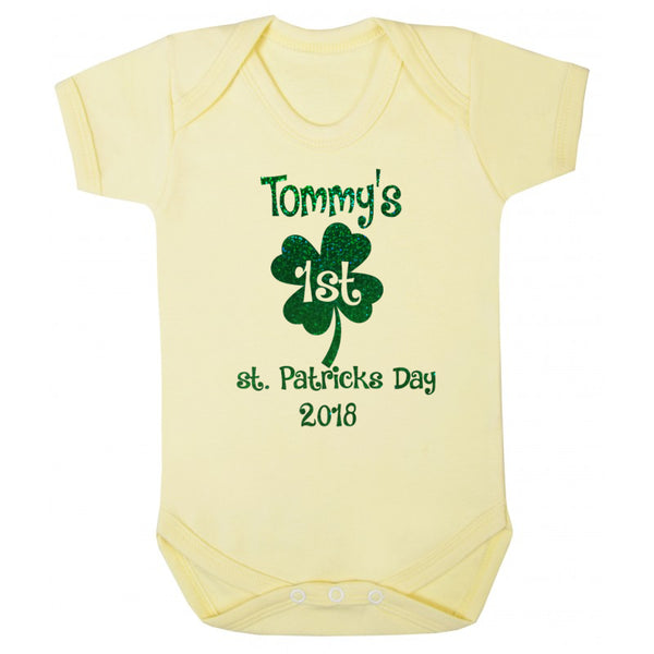 personalised st. patricks day baby bodysuit