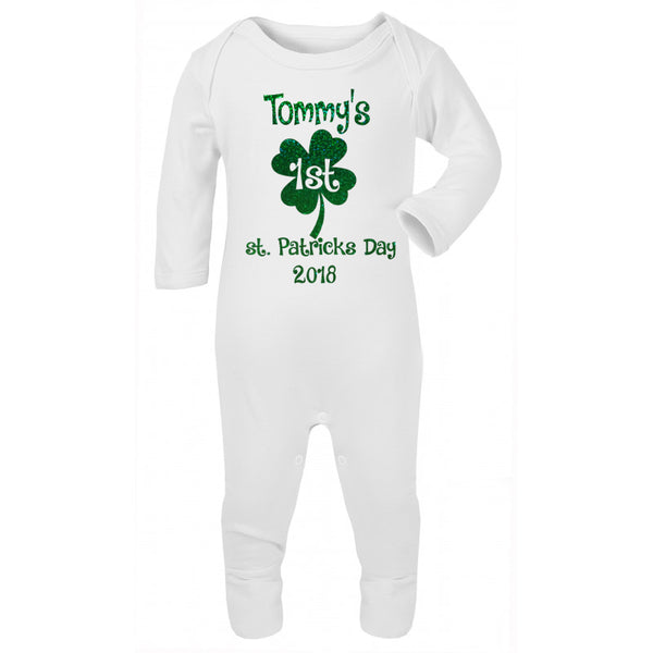personalised St.Patricks day baby grow
