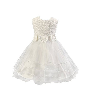 Rose Flowers Girls Christening Dress