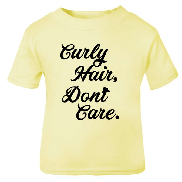 curly hair dont care kids shirt
