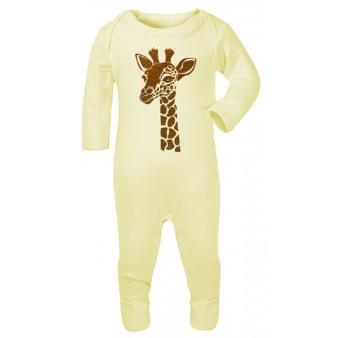 Gold Giraffe Baby Grow